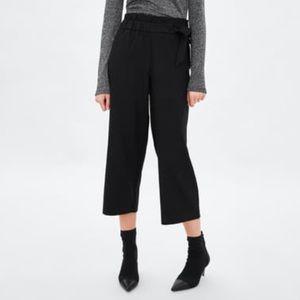 Zara Culottes tie black pants size S NWT